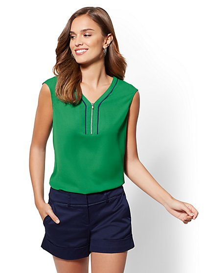 7th Avenue - Piped V-Neck Zip-Front Blouse - New York & Company