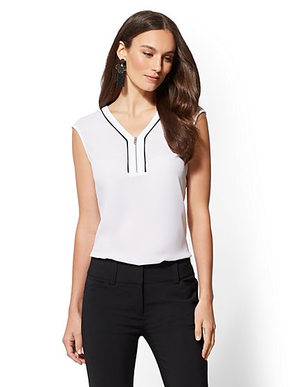 7th Avenue - Piped Zip-Front Top - New York & Company