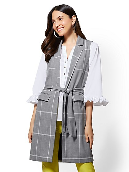 7th Avenue - Plaid Belted Long Vest - New York & Company