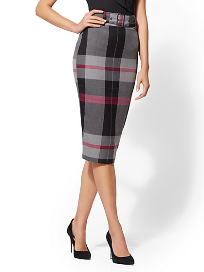7th Avenue - Plaid Belted Pencil Skirt - New York & Company