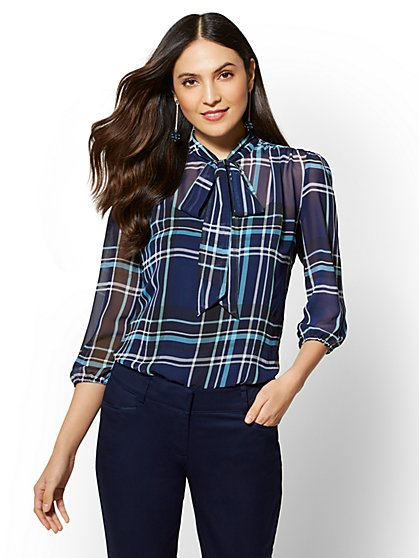 7th Avenue – Plaid Bow-Accent Blouse - New York & Company