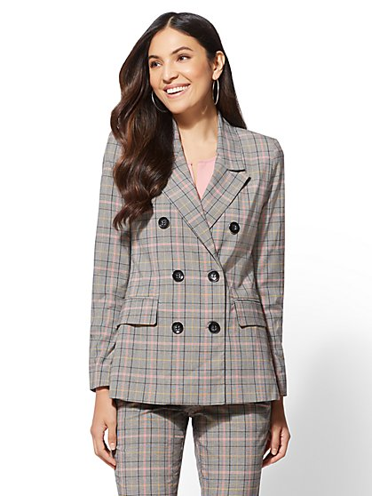 7th Avenue - Plaid Double-Breasted Jacket - New York & Company