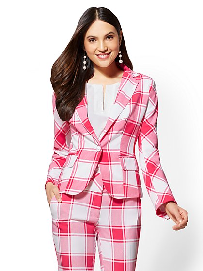 7th Avenue Plaid One-Button Jacket - Modern - New York & Company