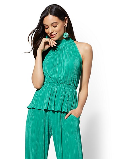 7th Avenue - Pleated Peplum Halter Blouse - New York & Company