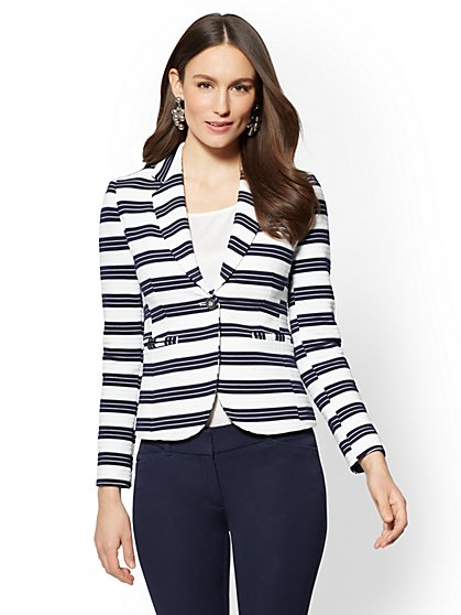 7th Avenue Ponte One-Button Jacket - Stripe - New York & Company