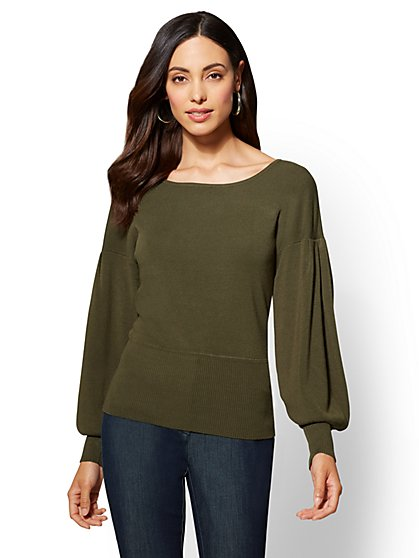 7th Avenue - Puff-Sleeve Scoopneck Sweater - New York & Company