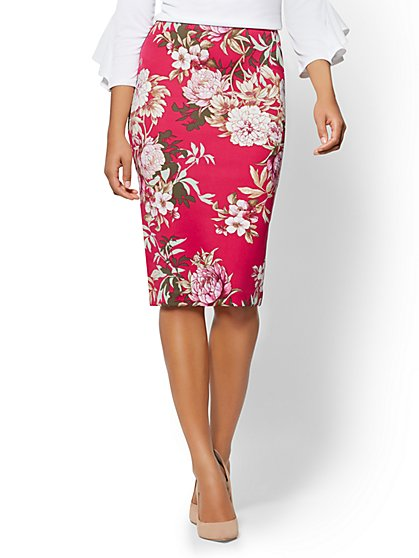 7th Avenue - Pull-On Pencil Skirt - Floral - New York & Company
