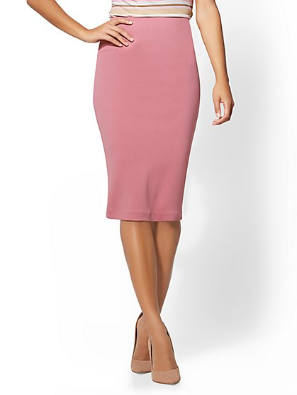 7th Avenue - Pull-On Pencil Skirt - Mauve - New York & Company