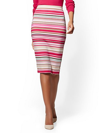 7th Avenue - Pull-On Pencil Skirt - Stripe - New York & Company