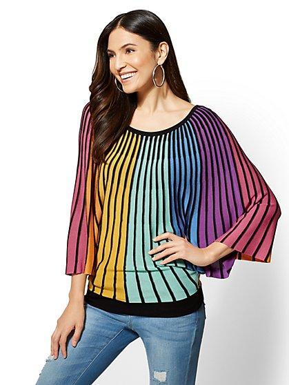7th Avenue - Rainbow-Stripe Dolman Sweater - New York & Company