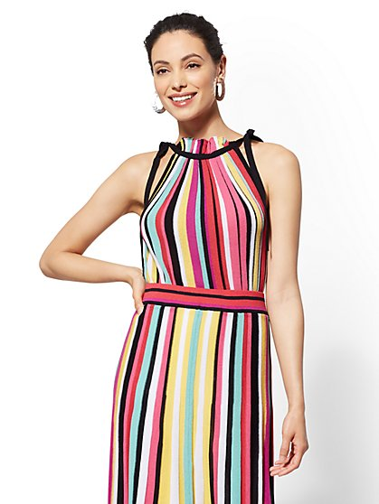 7th Avenue - Rainbow-Stripe Halter Sweater - New York & Company