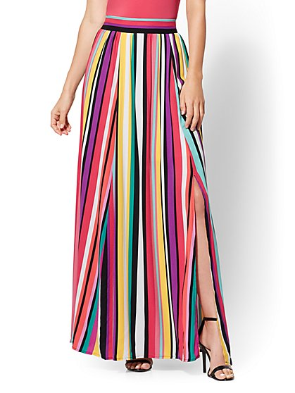 7th Avenue - Rainbow Stripe Maxi Skirt - New York & Company