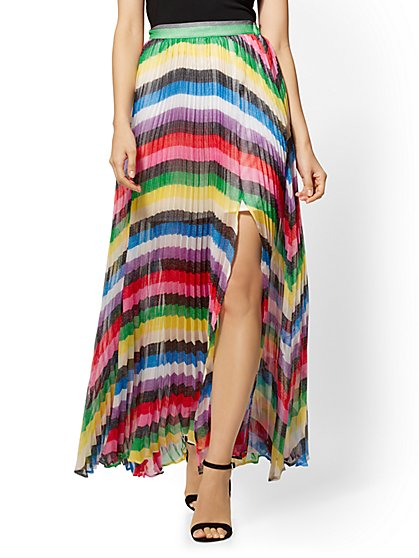 7th Avenue - Rainbow-Stripe Pleated Maxi Skirt - New York & Company