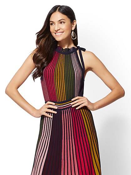 7th Avenue - Rainbow-Stripe Sweater Halter Top - New York & Company