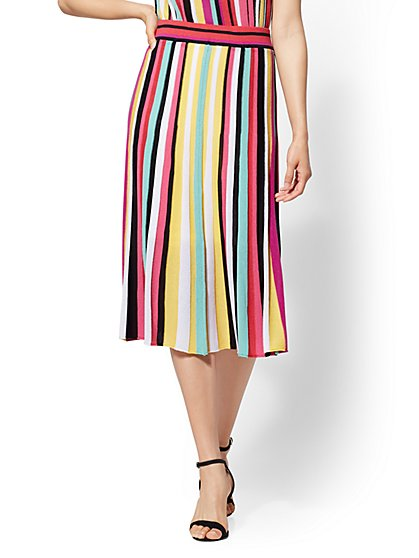 7th Avenue - Rainbow Stripe Sweater Skirt - New York & Company