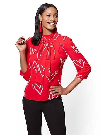 7th Avenue - Red Bow Blouse - Heart Print - New York & Company