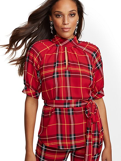 7th Avenue - Red Plaid Mock-Neck Blouse - New York & Company