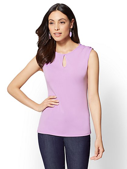 7th Avenue - Shirred Keyhole Top - New York & Company