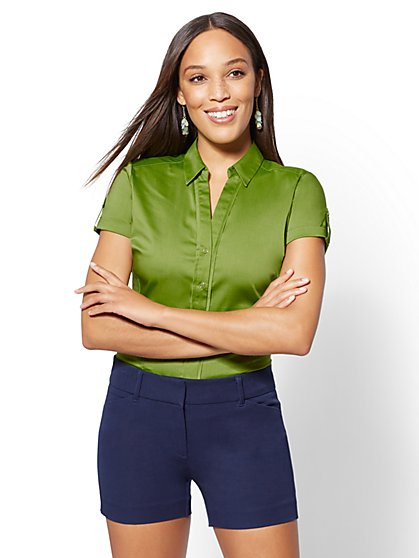 7th Avenue - Short-Sleeve Madison Stretch Shirt - New York & Company