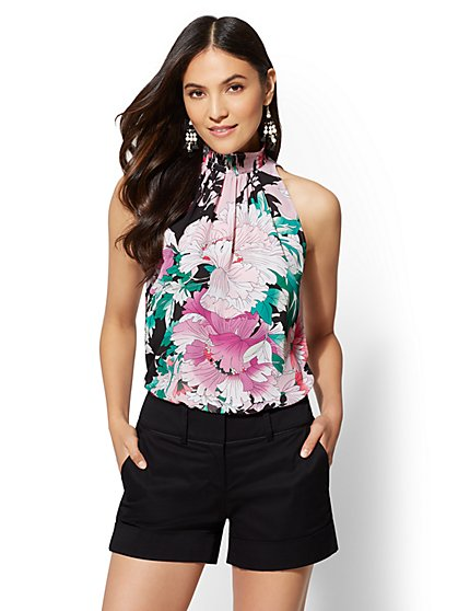 7th Avenue - Smocked Floral Halter Blouse - New York & Company