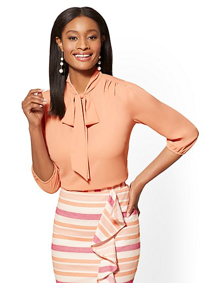 7th Avenue - Split-Neck Bow Blouse - New York & Company