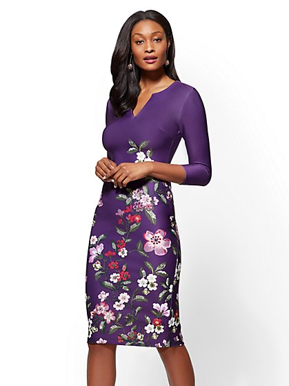 7th Avenue - Split-Neck Sheath Dress - Floral - New York & Company