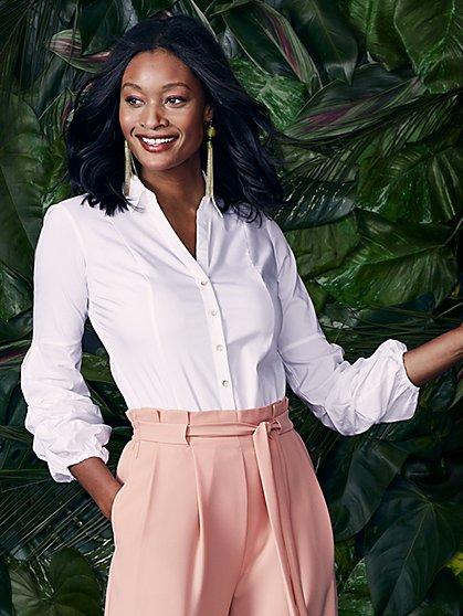 7th Avenue - Statement-Sleeve Poplin Bodysuit - White - New York & Company