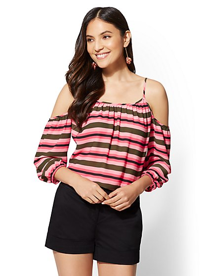 7th Avenue - Stripe Cold-Shoulder Blouse - New York & Company