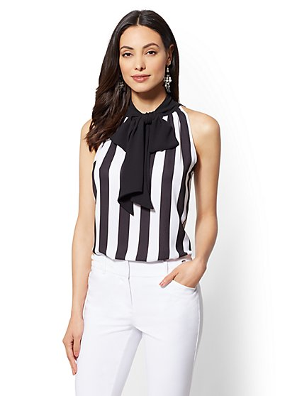 7th Avenue - Stripe Halter Blouse - New York & Company