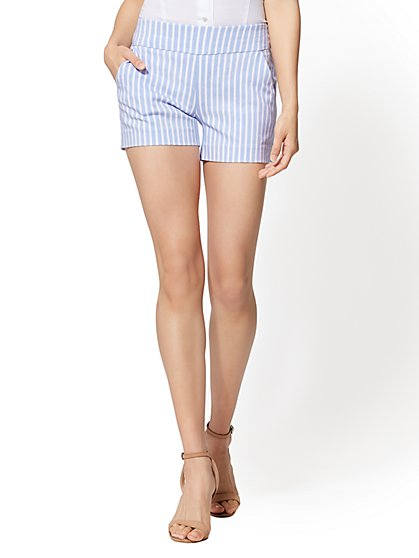 7th Avenue - Stripe Pull-On 4 Inch Short - Signature - New York & Company