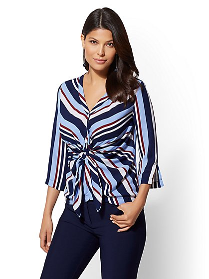 7th Avenue - Stripe Twist-Front Shirt - New York & Company