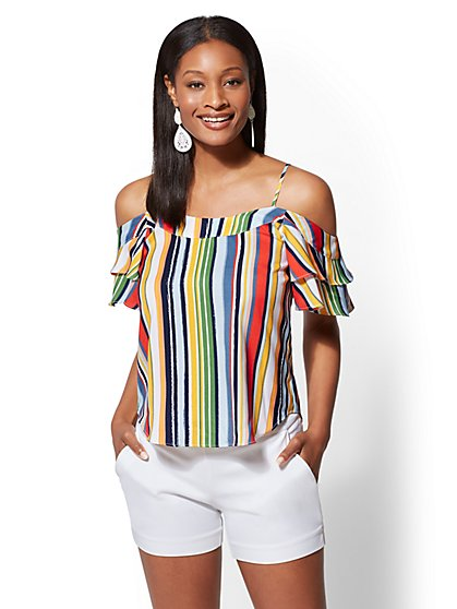 7th Avenue - Striped Cold-Shoulder Blouse - New York & Company