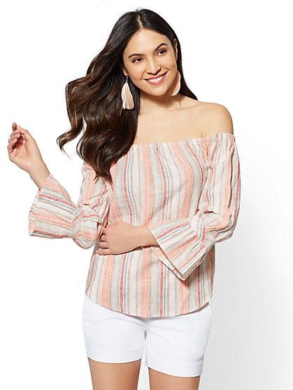 7th Avenue - Striped Linen Off-The-Shoulder Shirt - New York & Company