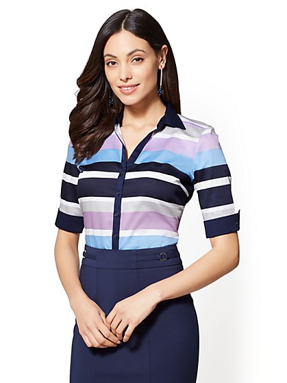 7th Avenue - Striped Madison Stretch Shirt - New York & Company