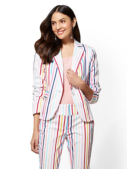 7th Avenue - Striped One-Button Jacket - Modern - New York & Company