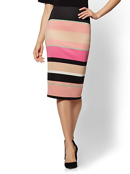 7th Avenue - Striped Pull-On Pencil Skirt - New York & Company