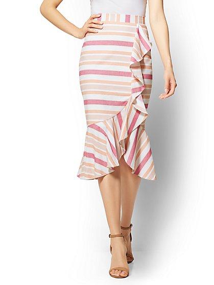 7th Avenue - Striped Ruffled Flounced-Hem Skirt - New York & Company