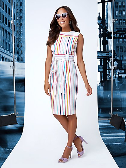 7th Avenue - Striped Sheath Dress - New York & Company