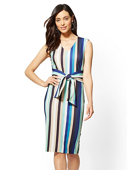 7th Avenue - Striped Tie-Front Sheath Dress - New York & Company