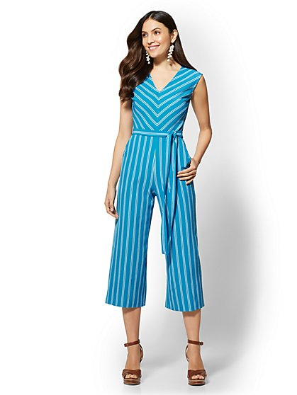 7th Avenue - Striped V-Neck Culotte Jumpsuit - New York & Company
