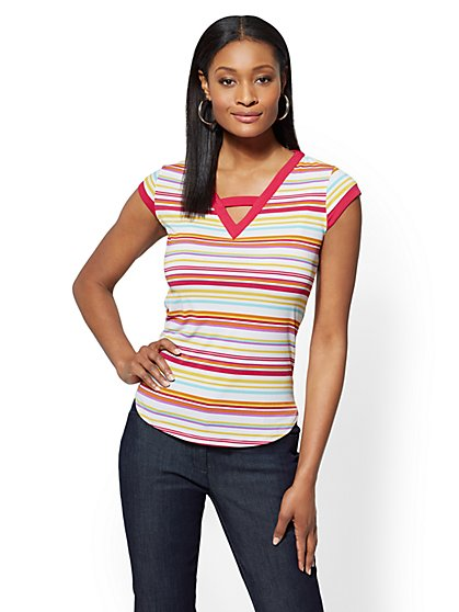 7th Avenue - Striped V-Neck Top - New York & Company