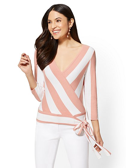 7th Avenue - Striped V-Neck Wrap Sweater - New York & Company