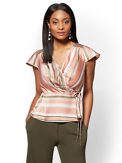 7th Avenue - Striped Wrap Peplum Blouse - New York & Company