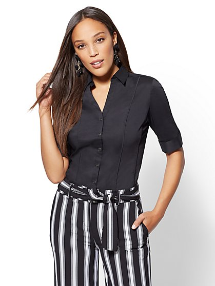 7th Avenue - Tall Black Piped Madison Stretch Shirt - New York & Company