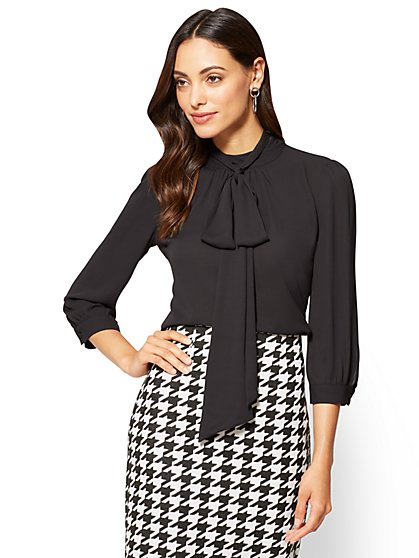 7th Avenue Tall Bow-Accent Mock-Neck Blouse - New York & Company