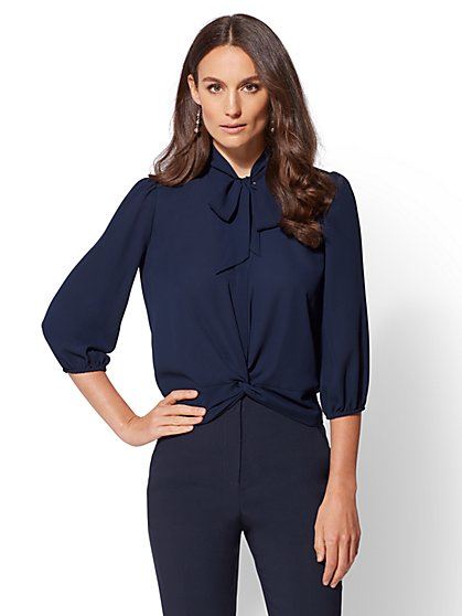 7th Avenue - Tall Bow-Accent Twist-Front Blouse - New York & Company