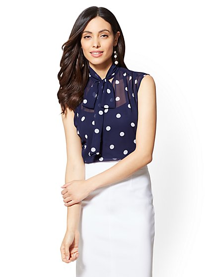 7th Avenue - Tall Dot-Print Bow Blouse - New York & Company