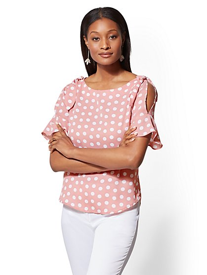 7th Avenue - Tall Dot-Print Cold-Shoulder Blouse - New York & Company