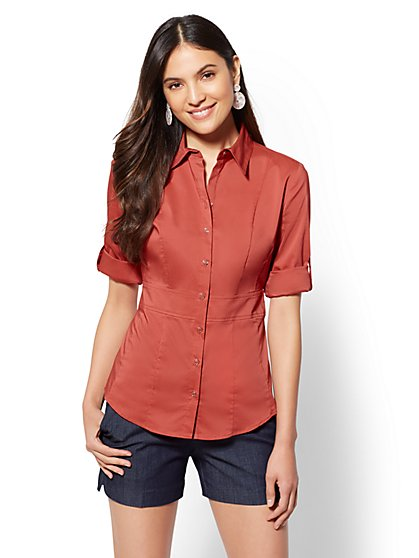 7th Avenue - Tall Madison Stretch Shirt - Waist Inset - New York & Company