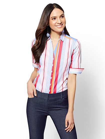 7th Avenue - Tall Multi Stripe Madison Stretch Shirt - New York & Company